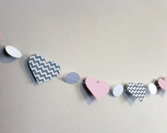 Pink and Gray Chevron Paper Heart Garland | Baby Shower and Nursery Decor