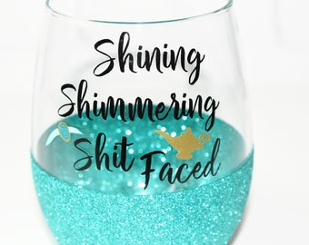 Princess Jasmine Glitter Wine Glass / Disney Princess Wine Glass / 21st Birthday Gift for Her / Disney Bachelorette Party / Friend Gift
