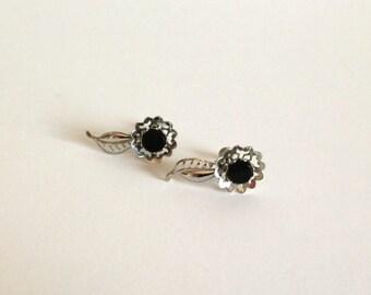 Vintage Twist Back Silver Earrings with Black Stone