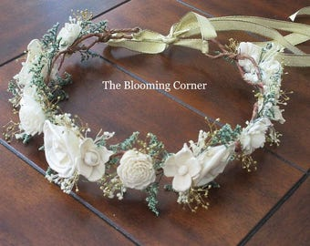sola flower hair, bridal flower crown, ivory gold wedding headpiece, hair accessories, gold hair crown