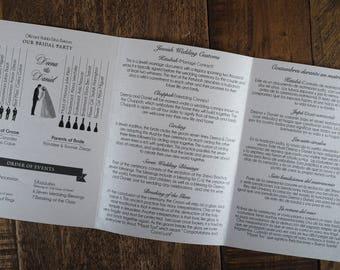 Folded Over Wedding Program, Tri-Fold Wedding Program, Tri-Fold Program, Tri-Fold Ceremony Program, Tri-Fold Bridal Party Program, Programs