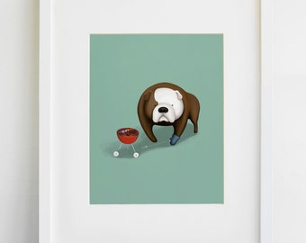 Bulldog Backyard Barbecue Print