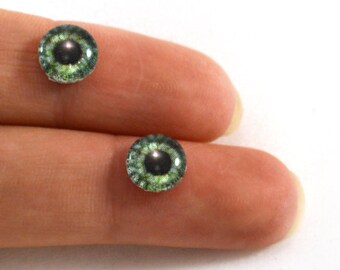 8mm Green Steampunk Gear Glass Eye Cabochons - Taxidermy Eyes for Doll or Jewelry Making - Set of 2
