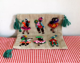 vintage 1970s throw pillow case - NEEDLEPOINT PEOPLE ethnic pillow cover