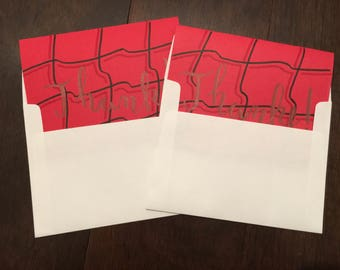 Red 'Thank You!' Cards - Set of 2