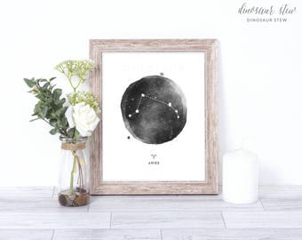 aries print - watercolor constellation art print - aries gift idea with color options - 8x10