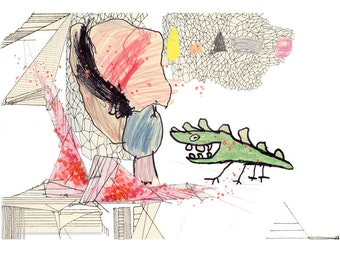The Crocodile, 8.5x11 childrens art, Drawing with Santiago