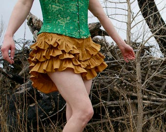Golden Coquette Bloomers - Custom-made 100% Cotton Broadcloath Drawers / Ruffle Brief - Adult Women - Moth & Rust Handmade in Kansas USA