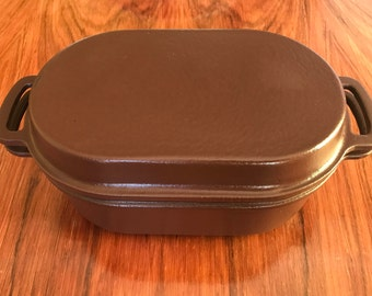 Vintage Lauffer enamelled cast iron cookware - casserole or Dutch Oven - deluxe mocha brown with cream interior - made in England 1970s