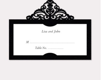 Black laser cut name place cards (20pcs)