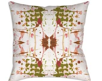Abstract Throw Pillow Art Green Pink Pillow Shabby Chic Pillow Unique Decorative Pillow Art Watercolor Pillow Artist Painted Pillows
