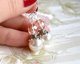 Pink bridesmaid earrings Pink wedding jewelry Pink Bridesmaid Jewelry Bridesmaid Gift Flower girl earrings Vintage weddings