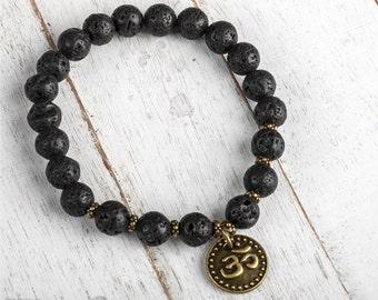 Mala Bracelet, Men Beaded Bracelet, Lava Bracelet, Lava Stone Bracelet, Meditation Bracelet For Strength, Empowerment & Energy