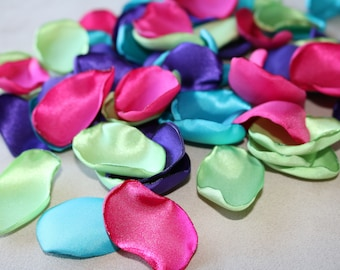 Shocking Pink, Lime Green, Turquoise, and Purple Flower Petals * Wedding Decor * Baby Shower * Birthday Party * Table Decor