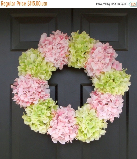 SUMMER WREATH SALE Hydrangea Wreath- Summer Wreath- Shabby Chic Wreath- Custom Colors Xl Front Door Wreath- 25 inch Spring Wreath for Door
