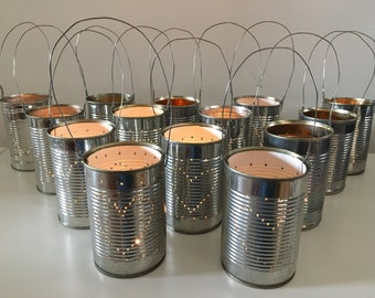 10 Upcycled Wedding Heart Tin Can Lanterns Table Decoration