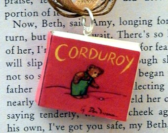 Corduroy Book Necklace, Brooche, or Keychain