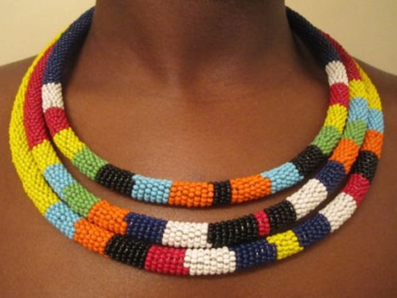 African maasai rope beaded neckline necklace masai hand made for How to make african jewelry crafts