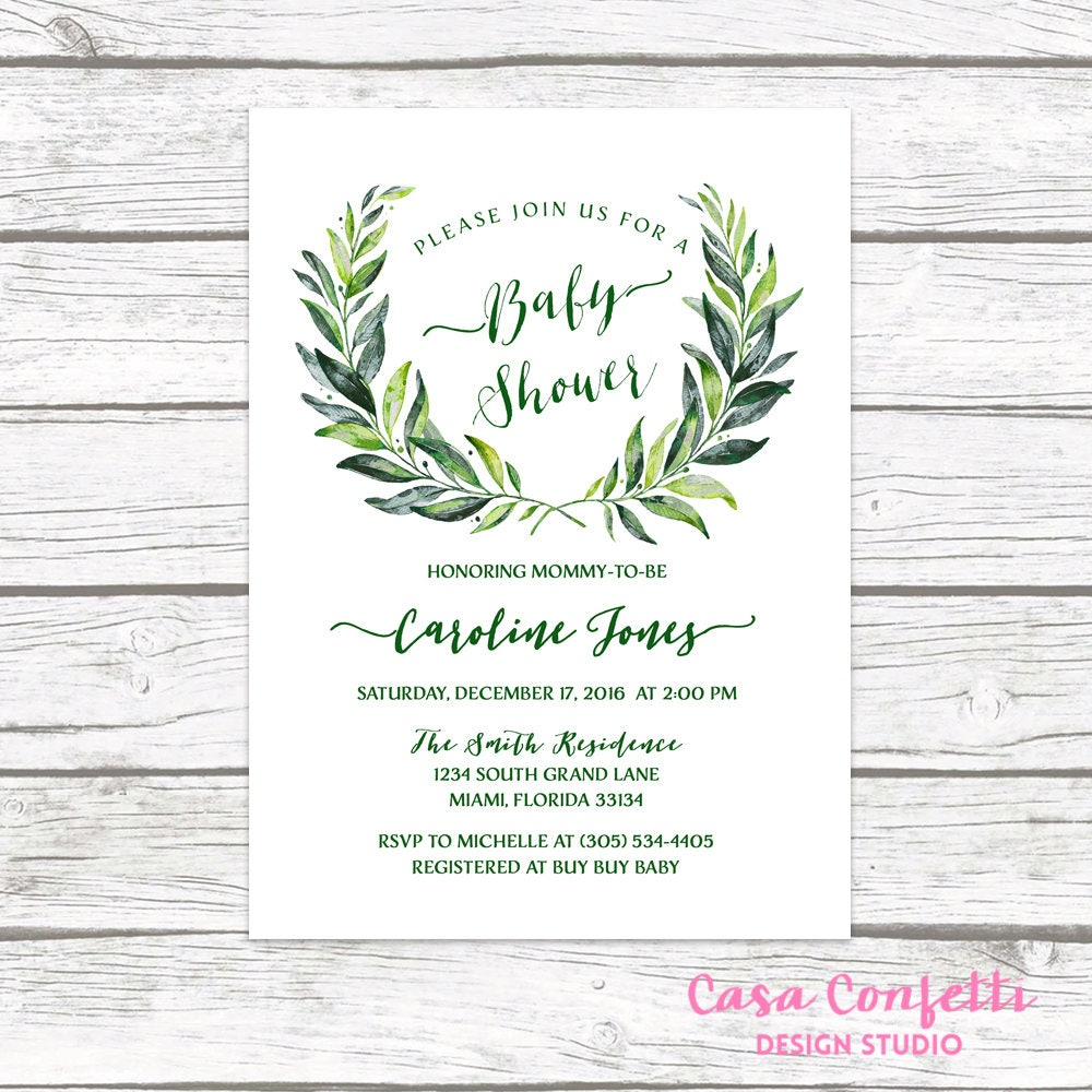 Green Baby Shower Invitation, Leaf Baby Shower Invitation, Laurel ...