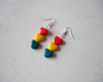 heart, rasta, red, yellow and green polymer clay earrings