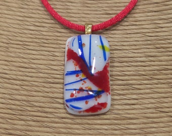 Quirky Fused Glass Pendant, Red, Royal Blue, Yellow, White, Ready to Ship, Blue Stripes, One of a Kind Jewelry  - Heat of the Moment -752-5