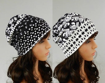 Jersey beanie hat for women Spring hat women Slouchy beanie Reversible beanie hat Cotton jersey beanie women Chemo hat stretch S-L