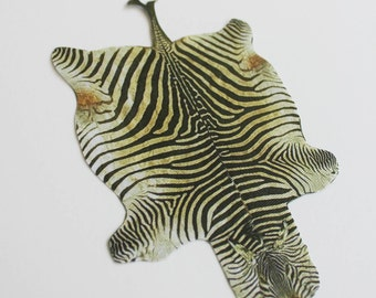 Miniature Faux Zebra Hide Rug for Dollhouse in 1:12 Scale