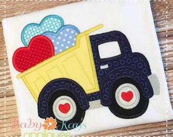 Valentine Dump Truck Applique Design 4x4, 5x7, 6x10, 8x8
