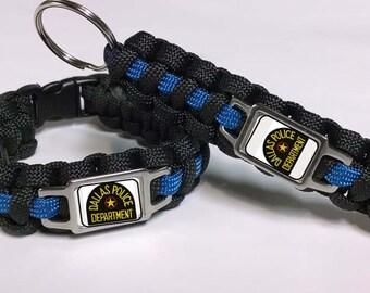 Thin Blue Line Dallas Police Department DPD Shoulder Patch Paracord Survival Combo Set