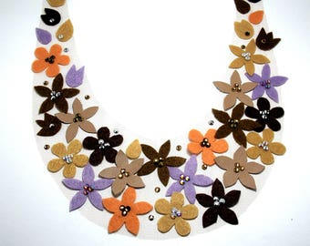 Brown flowers bib necklace Felt statement necklace Felt flower necklace Jewelry with felt flower Romantic gift for her Floral bib necklace