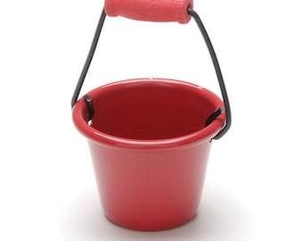 Miniature Red Pail~ Dollhouse Accessories ~ Metal Bucket ~ Diorama ~ Fairy Garden ~