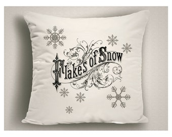 Christmas Pillow Flakes of Snow , Christmas Throw Pillow Covers, Holiday Pillows in Green and White, Christmas Decorations Snowflakes