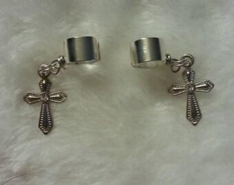 Handmade little cross ear cuffs.. comes with 2 ear cuffs - one right ear cuff and one left ear cuff (set / pair)