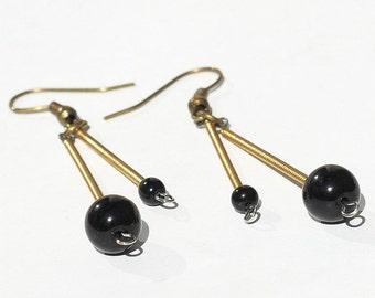 Guitar String Jewelry- Black Bead Brass Drop Upcycled Guitar String Earrings, Guitar Jewelry, Guitar Player Gift, Music Jewelry