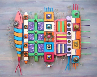Original Found Object Wall Sculpture, TOTEMS, Wood Carvings, Wall Art, Wall Decor, by Fig Jam Studio