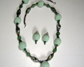 Necklace and Earrings set  hand crafted  J116