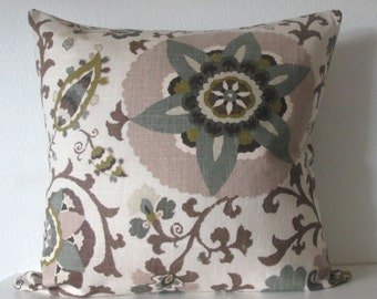 Silsila Rhinestone suzani brown gray taupe decorative pillow cover
