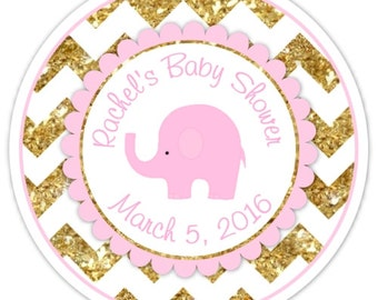 Mod Elephant Baby Shower Stickers, Pink and Gold Chevron Elephant Baby Shower Labels, Elephant Stickers