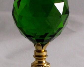 Lamp Finial-Stunning Leaded Crystal Lamp Finial-**GREEN**-Brass Base