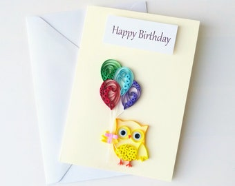 Quilling card - 3D Handcrafted Card - Simple Handmade Card - Small gift -  Paper art - owl card