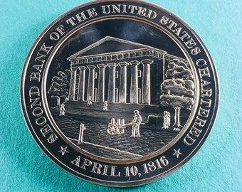Franklin Mint Medal History Of United States Series: Second Bank Of The United States Charted 1816, 44 mm Bronze Mint Condition<>#PSY-349