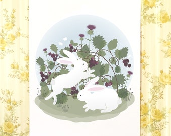 Bunnies and blackberries digital download, White rabbits, wall art, kids decor, nursery art, girls room, boys room, cute bunnies