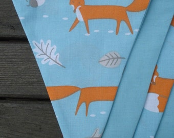 fox bunting, woodland bunting, fantastic Mr fox bunting, blue bunting, aqua bunting, fox decor, foxy bunting, woodland decor