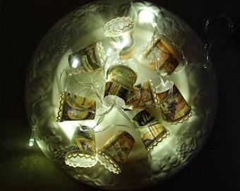 Tim Holtz vintage signs, Mini lampshade Fairy-Lights