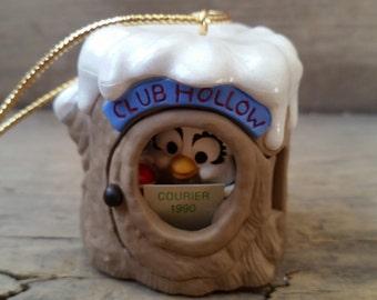 Hallmark ornament vintage, Club Hollow Courier 1990, Collector's Club ornament, owl Christmas ornament