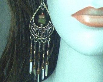 Chandelier Earrings in Brass, Sterling and Unakite