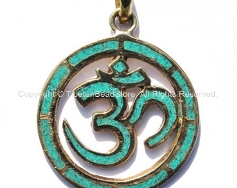 Carved Om Aum Ohm Brass Pendant with Turquoise Inlay - Tibetan Sanskrit OM Carved Pendant - WM672