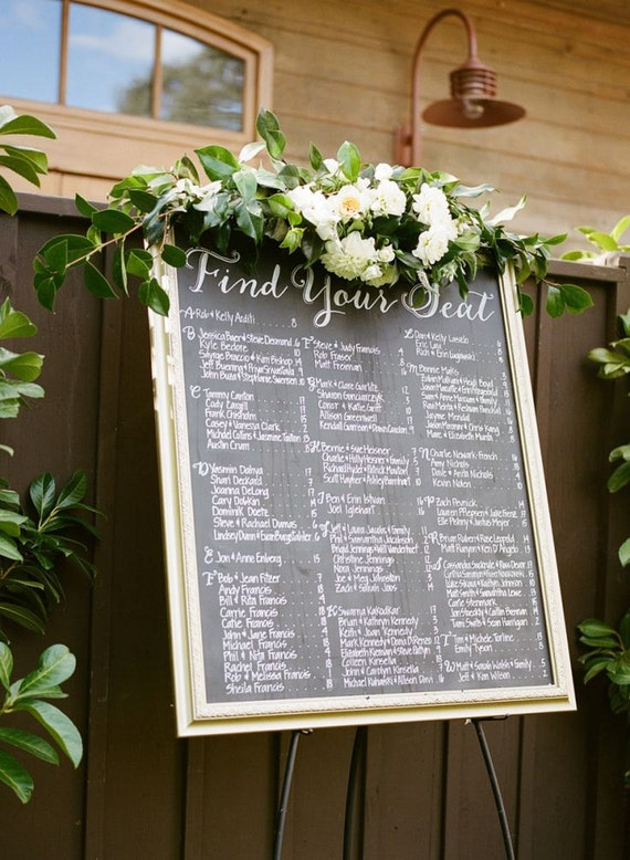 Custom wedding seating chart escort board personalized custom wedding seating chart escort board personalized custom designed hand painted calligraphy on mirror acrylic chalkboard or wood junglespirit Images
