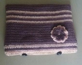 crochet pink and purple wool clutch