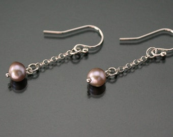 Pink pearl earrings, Set with pearl, Silver drop earrings, Pink pearl drop earrings, Mom christmas gift, Dangle earrings Pearl drop earrings